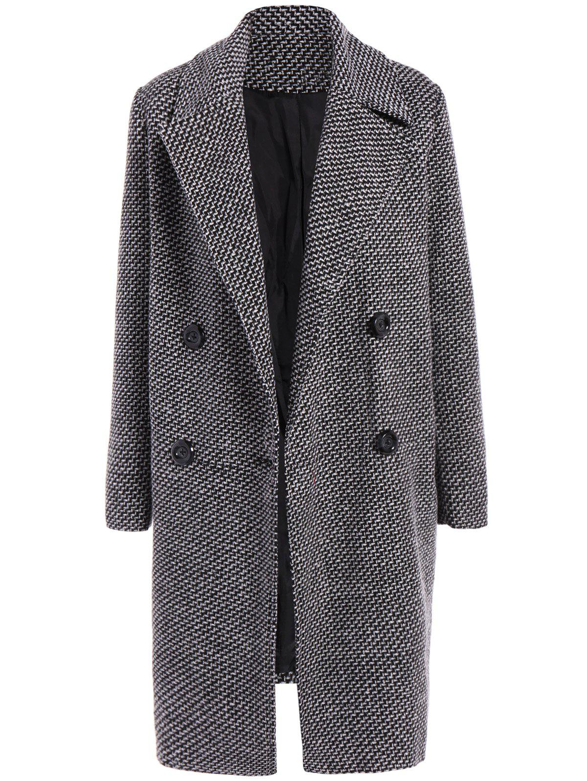 Checked Buttoned Wool Coat - BLACK XL
