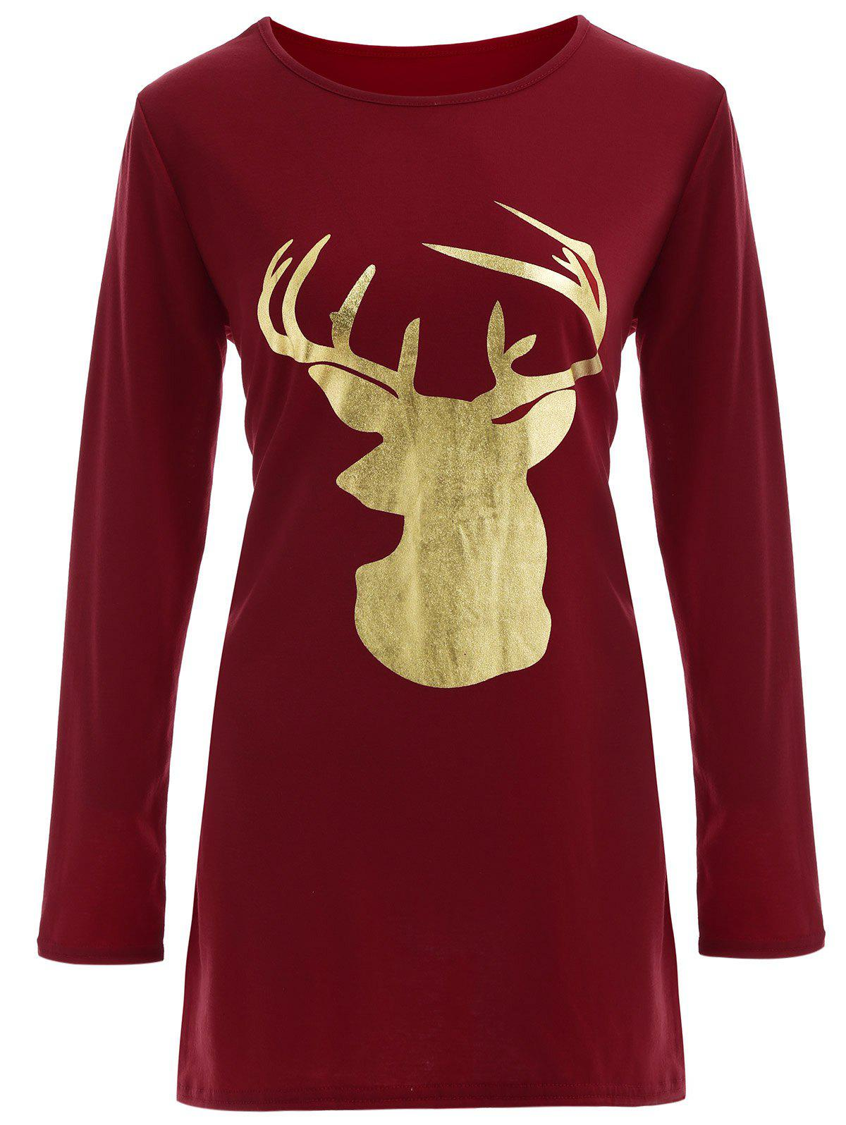 Reindeer Graphic Long Sleeve Christmas Tee Dress reindeer prestige wiklina