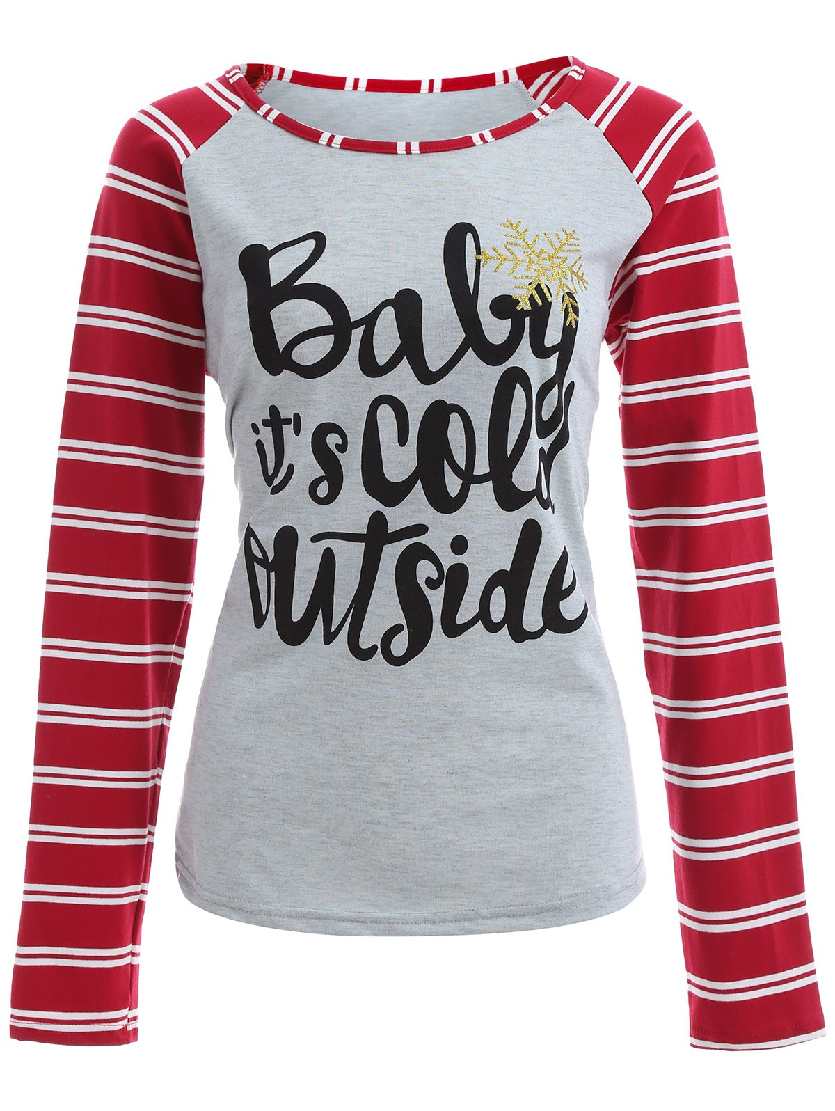 Its Cold Outside Christmas TeeWomen<br><br><br>Size: XL<br>Color: GRAY AND RED