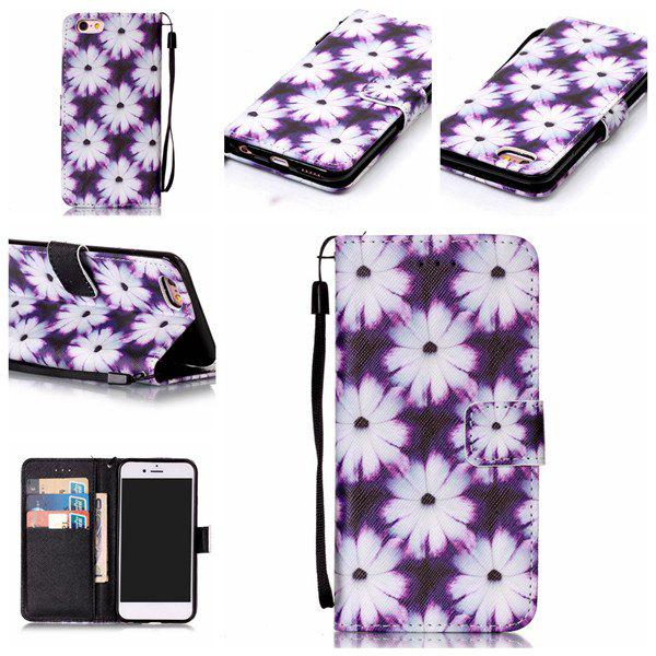 Floral PU Leather Card Slot Wallet Flip Case For iPhone 6S - WHITE / PURPLE FOR IPHONE 6 / 6S