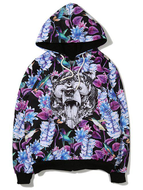 Leaves Animal 3D Printing Zip Up Hoodie - PURPLE M