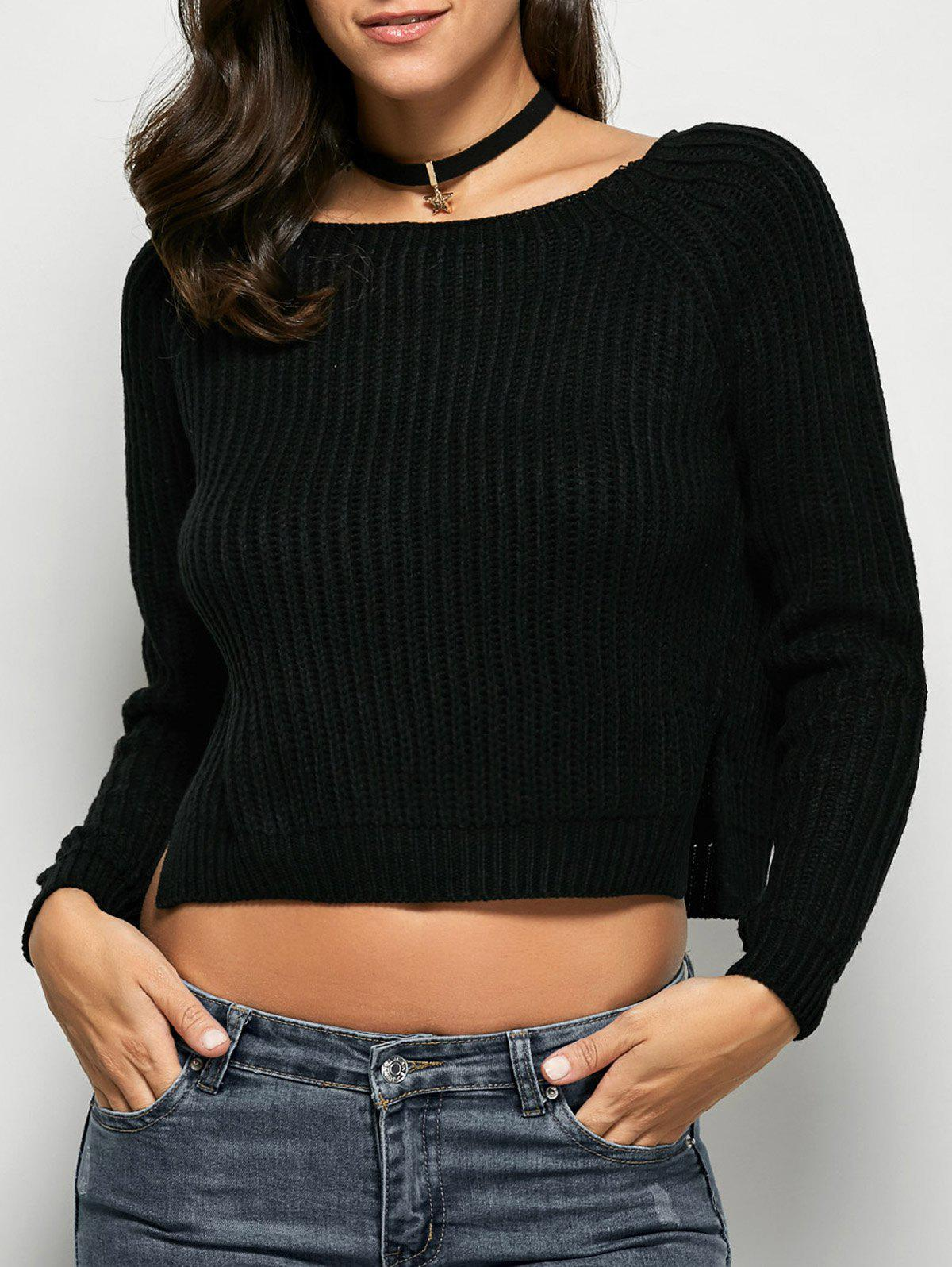 Cropped Ribbed SweaterWomen<br><br><br>Size: ONE SIZE<br>Color: BLACK