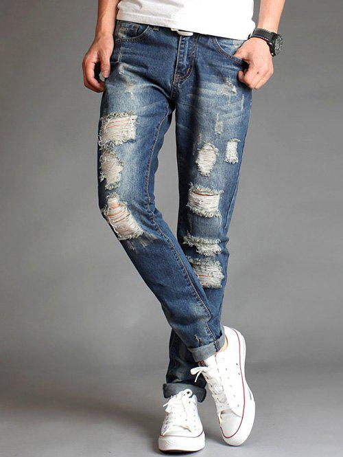 Slim Fit Destroyed Zipper Fly Straight Jeans slim fit zip fly destroyed biker jeans