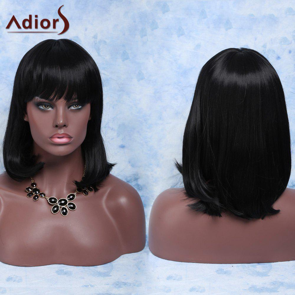 Unprocessed Medium Straight Full Bang Synthetic Hair WigHair<br><br><br>Color: BLACK