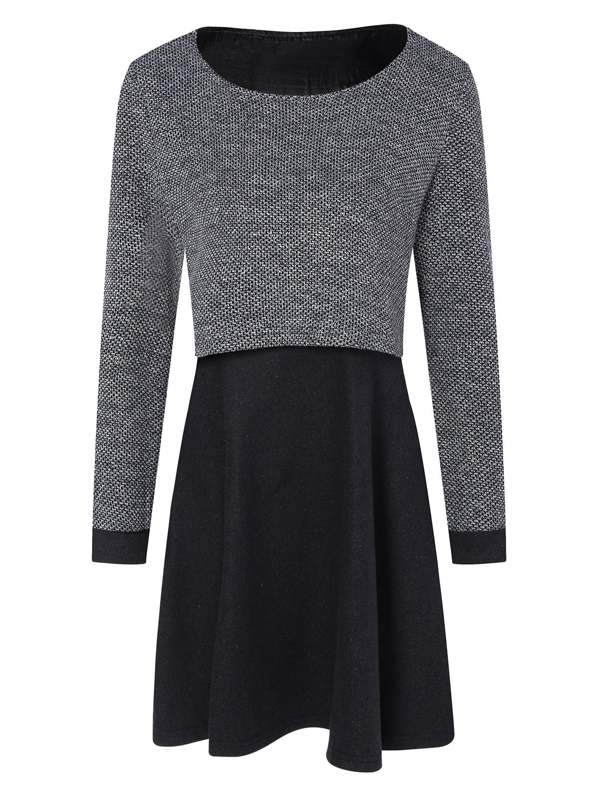 Long Sleeves Knitted Panel Popover DressWomen<br><br><br>Size: M<br>Color: BLACK AND GREY