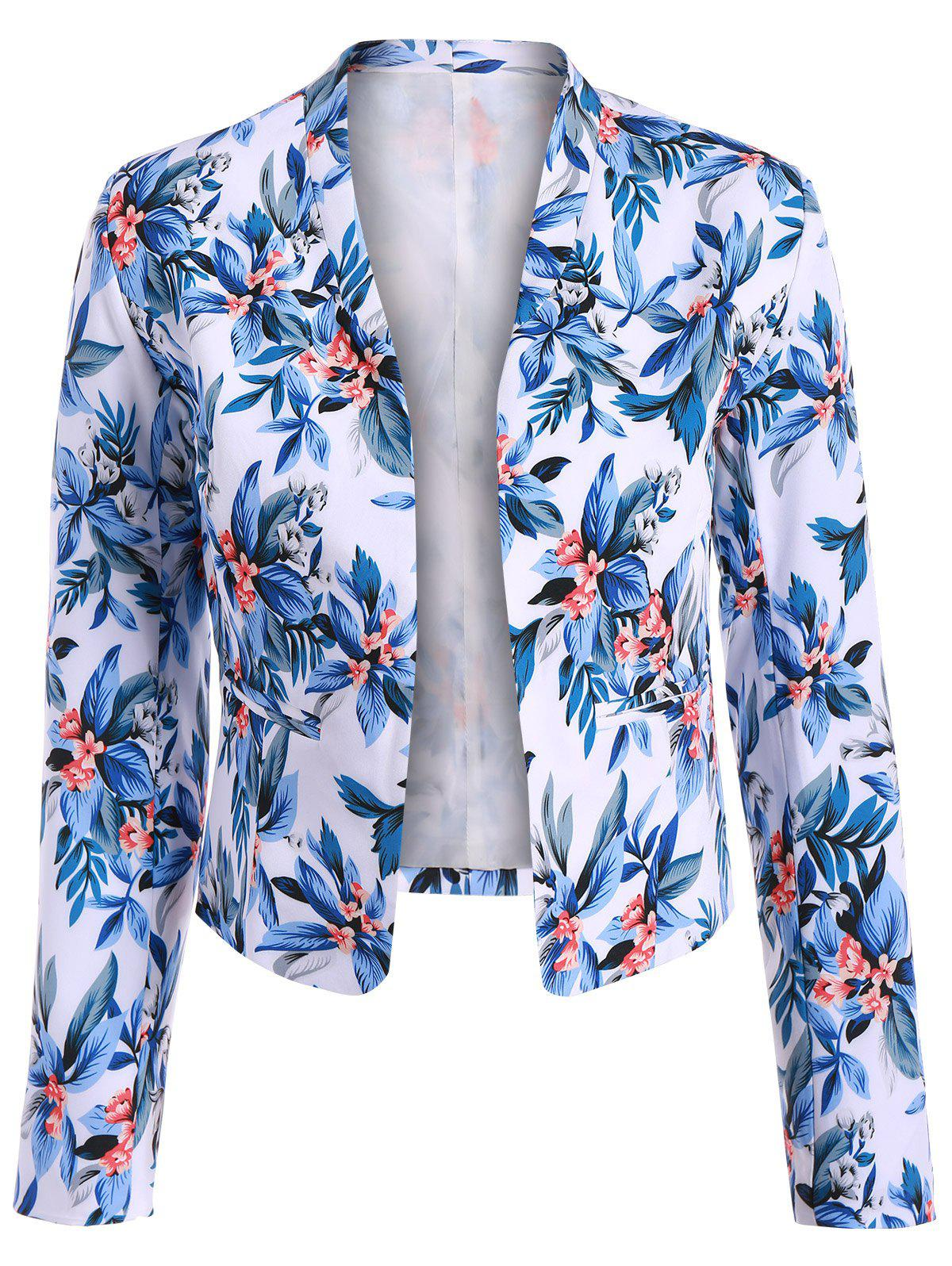 Short Floral Open Front Crop Blazer - BLUE S