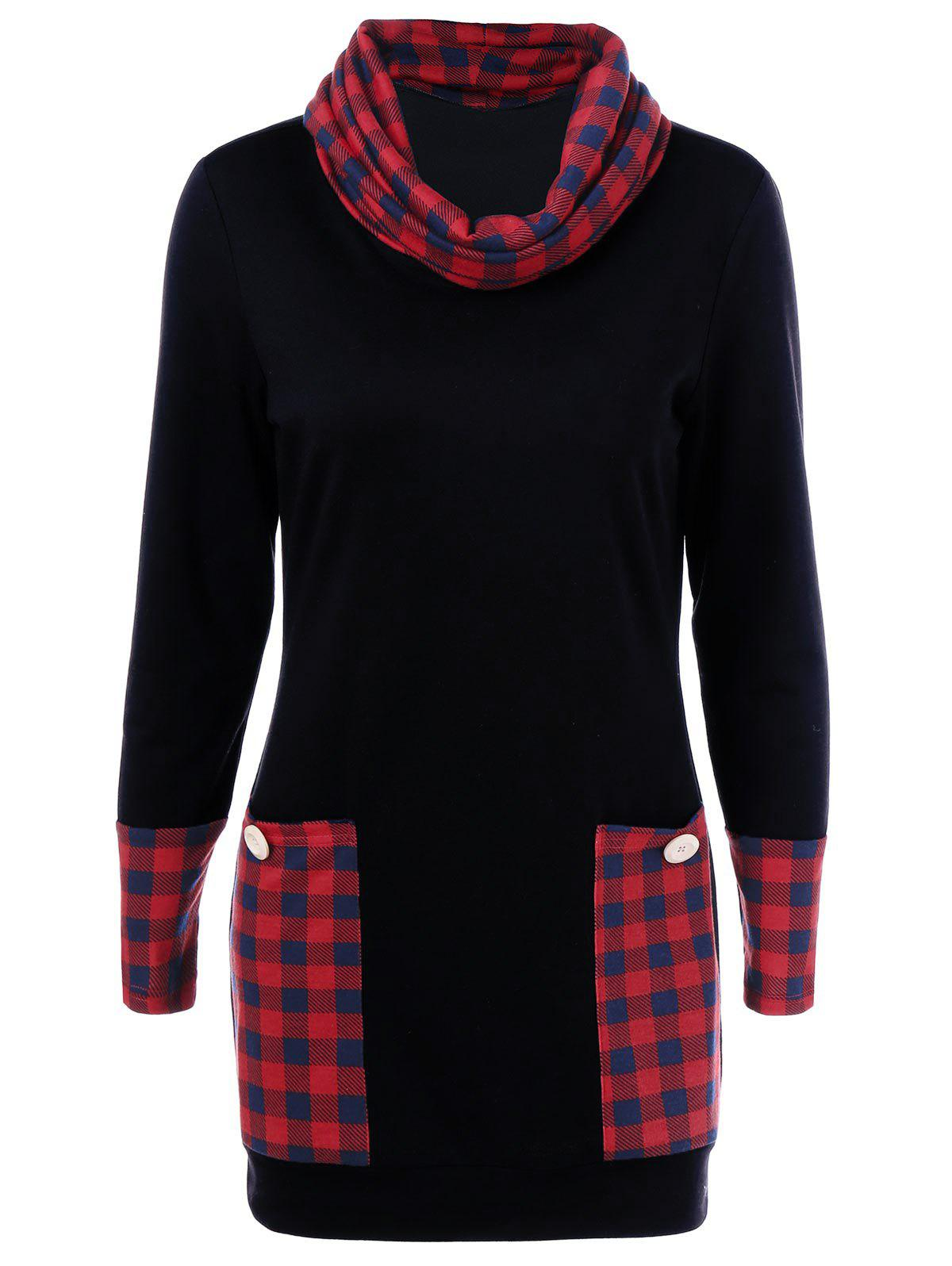 Casual Cowl Neck Plaid Trim Dress with Pockets - RED/BLACK L
