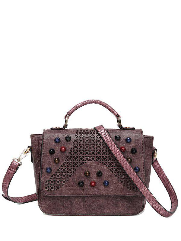 Hollow Out Colored Rivet Handbag - DARK RED