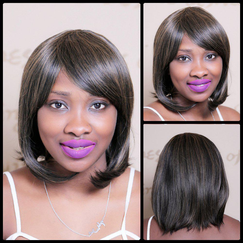 Color Mixed Short Oblique Bang Glossy Straight Bob Synthetic Wig - COLORMIX