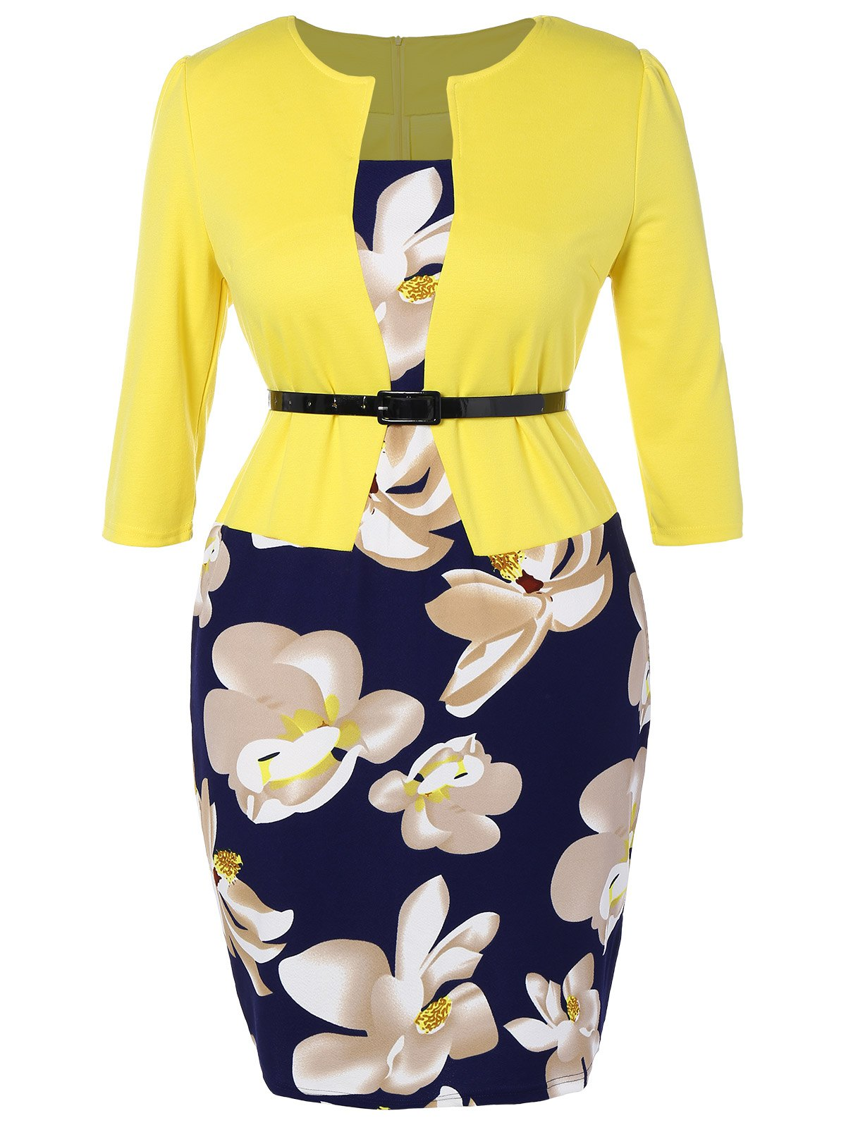 Fitted Floral Printed Belted Plus Size Dress