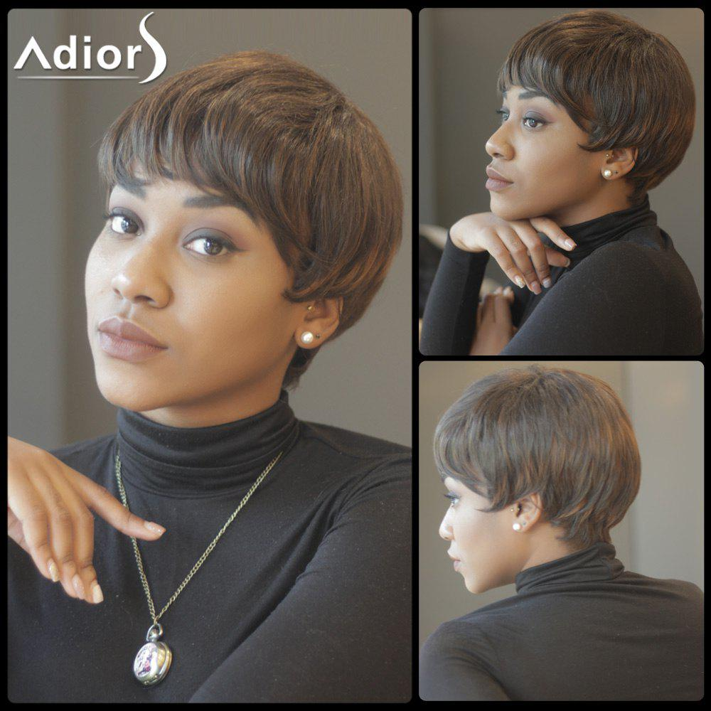 Spiffy Short Straight Capless Inclined Bang Synthetic Wig - BROWN