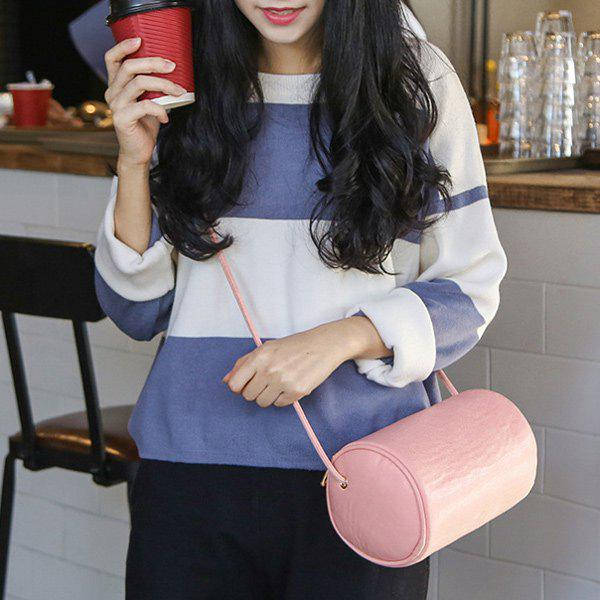 PU Leather Zip Cylinder Shape Crossbody Bag - PINK