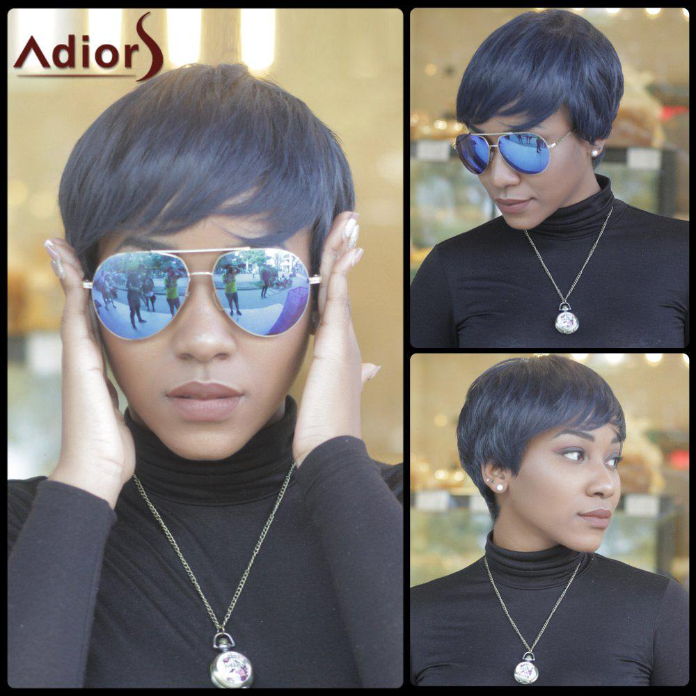 Short Pixie Cut Synthetic Capless Straight Inclined Bang Wig - PURPLISH BLUE