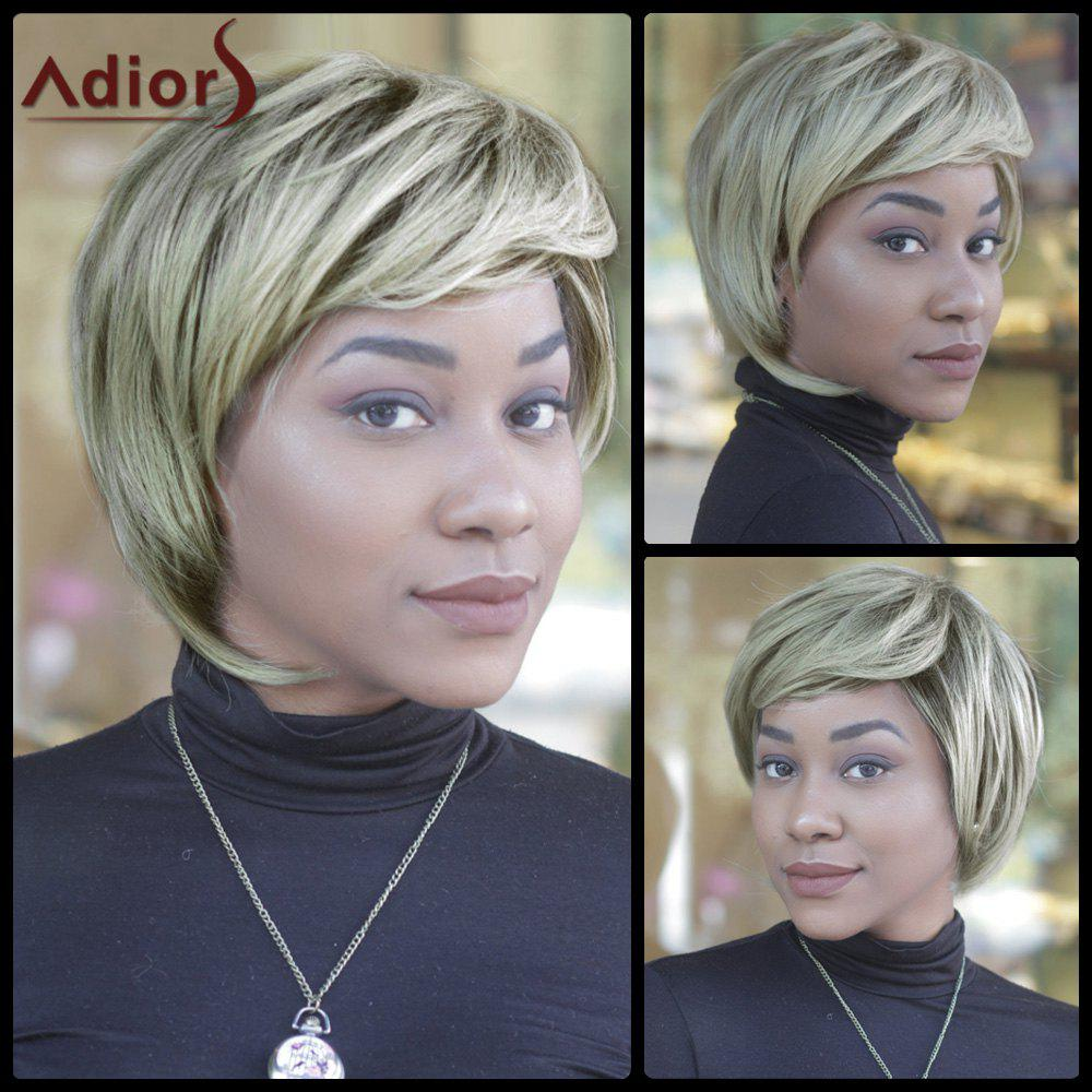 Fluffy Straight Synthetic Short Mixed Color Side Bang Capless Wig - COLORMIX