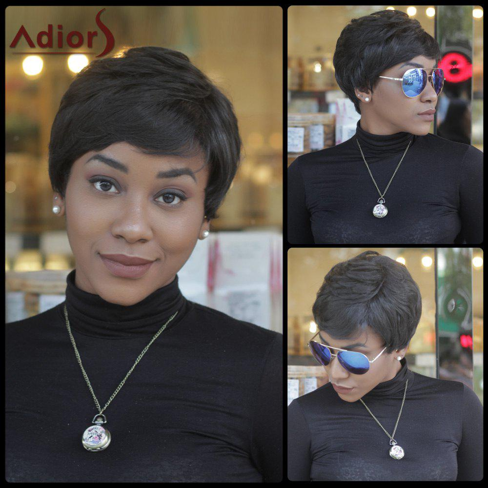 Short Fluffy Faddish Straight Side Bang Synthetic Capless WigHair<br><br><br>Color: BLACK