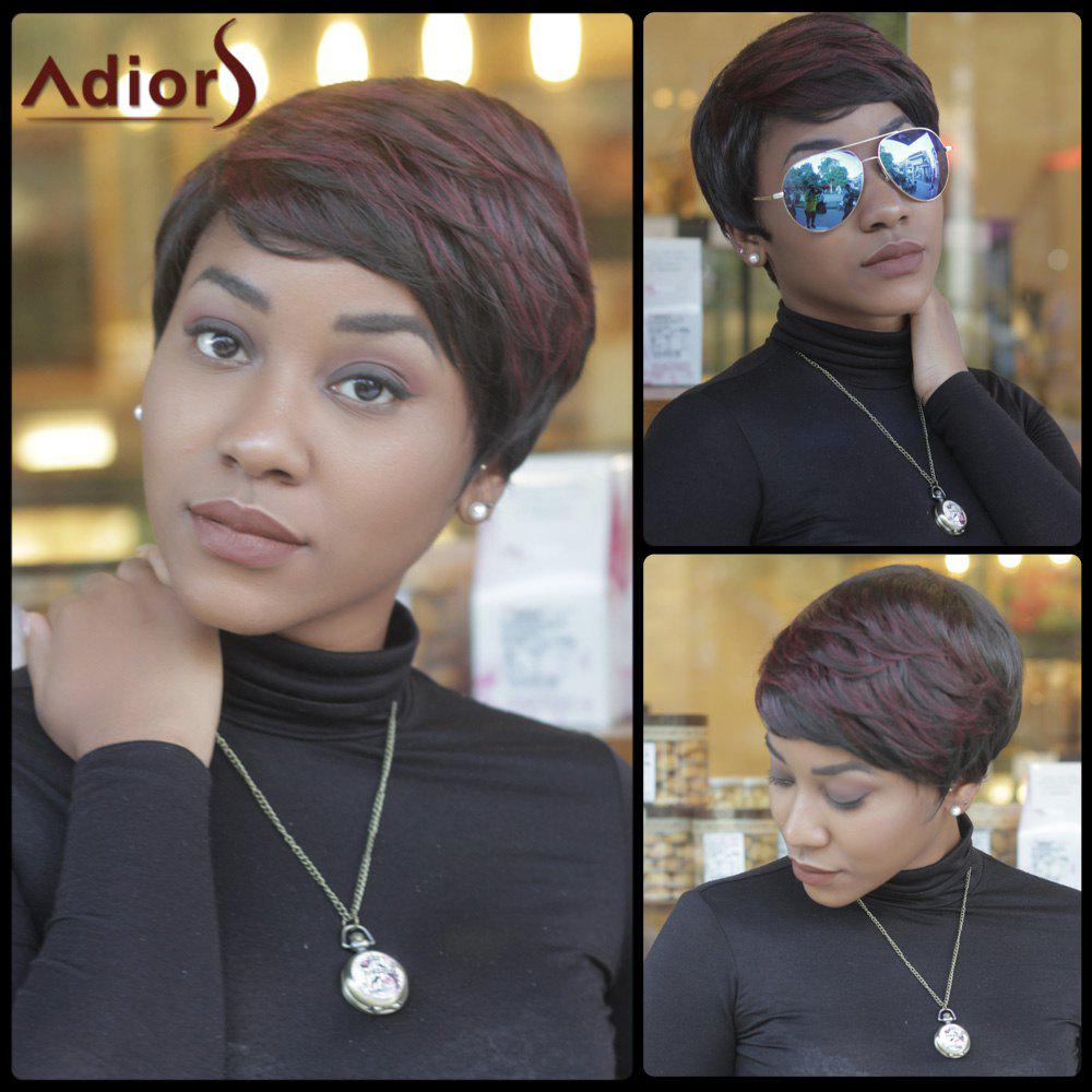Slightly Curled Short Double Color Neat Bang Synthetic Wig - COLORMIX