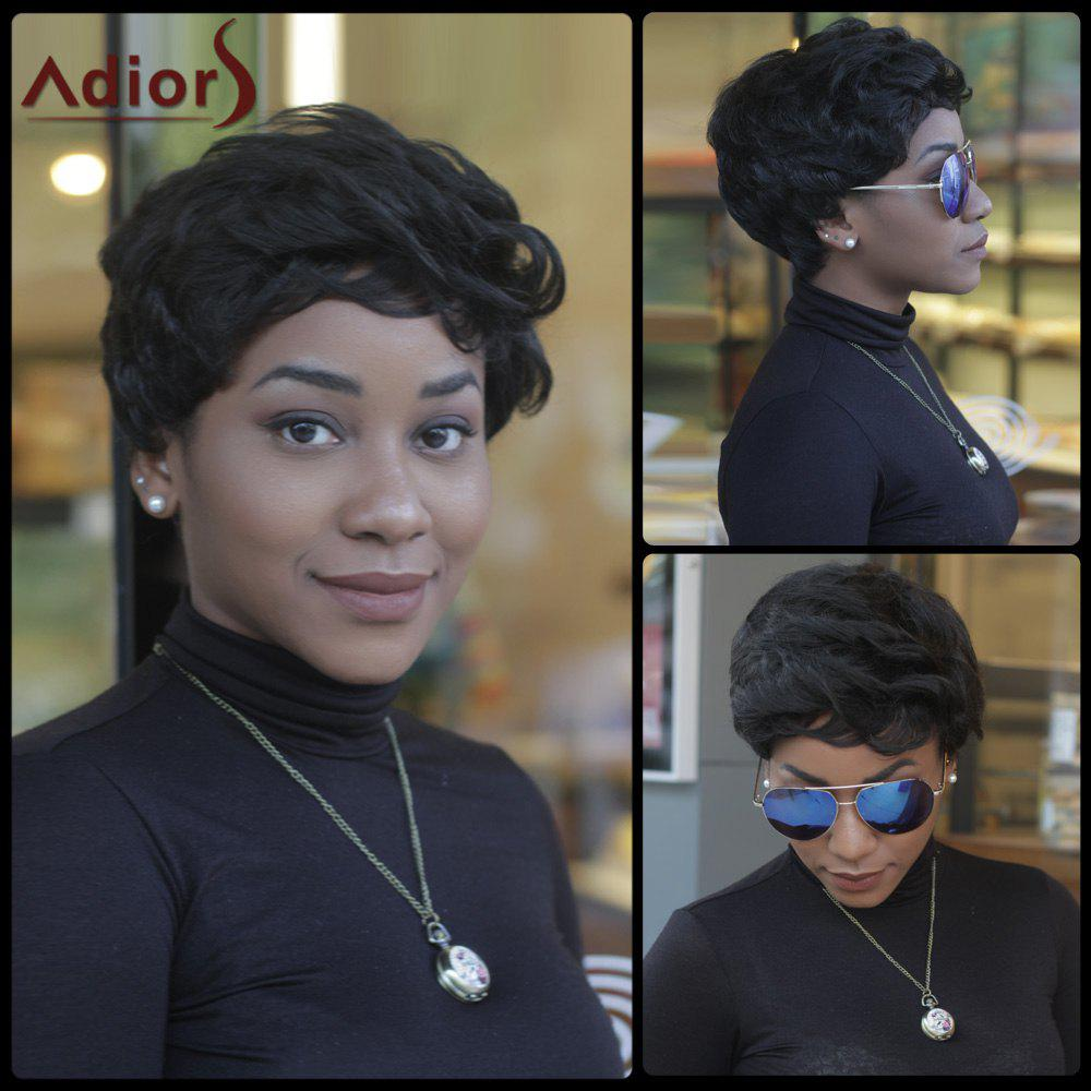 Short Fluffy Curly Side Bang Synthetic Capless Pixie Cut Wig - BLACK