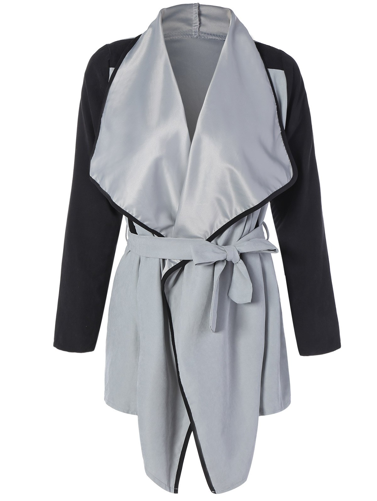 Two Tone Belted Wrap Coat two tone belted trench coat