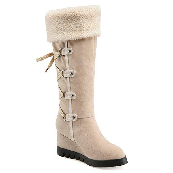 Faux Shearling Suede Wedge Heel Mid Calf Boots - APRICOT 38