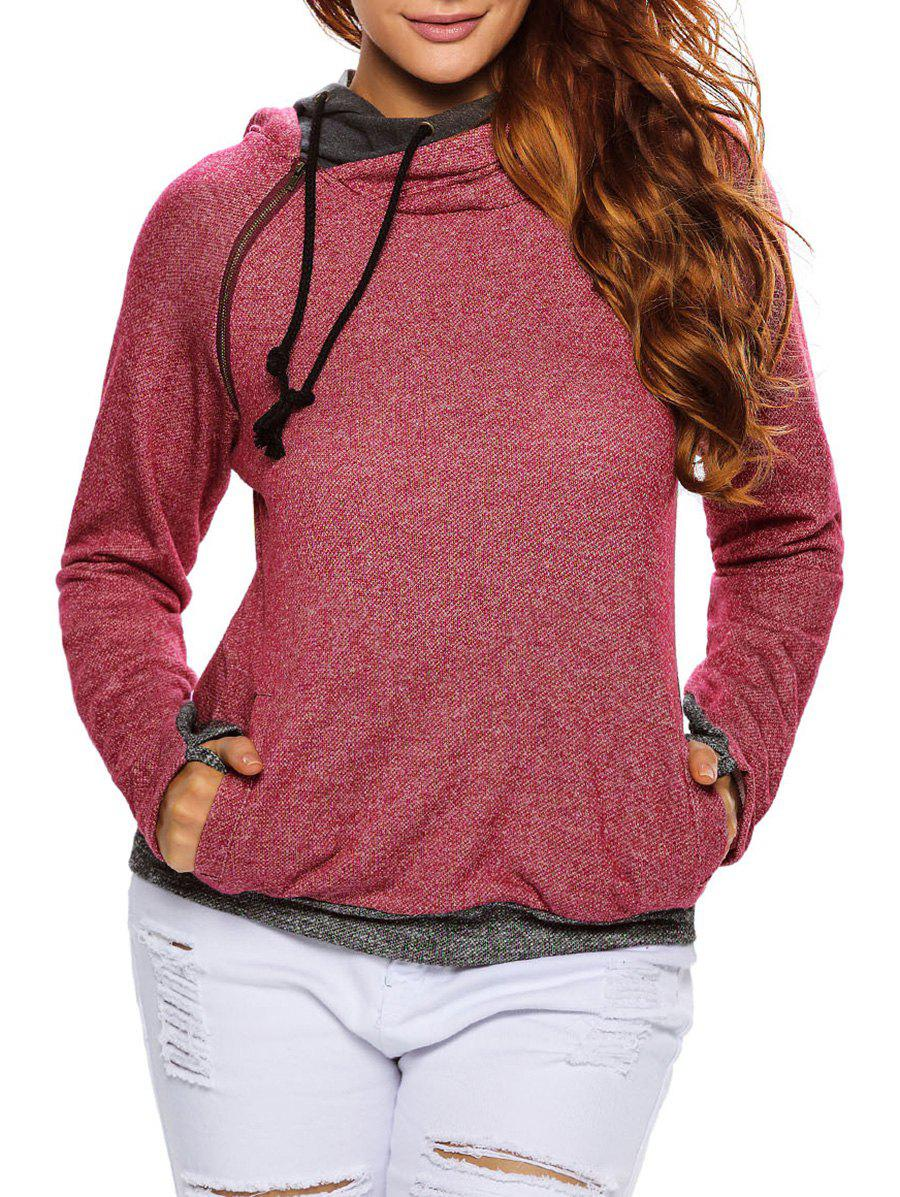 String Pullover Hoodie With Pocket