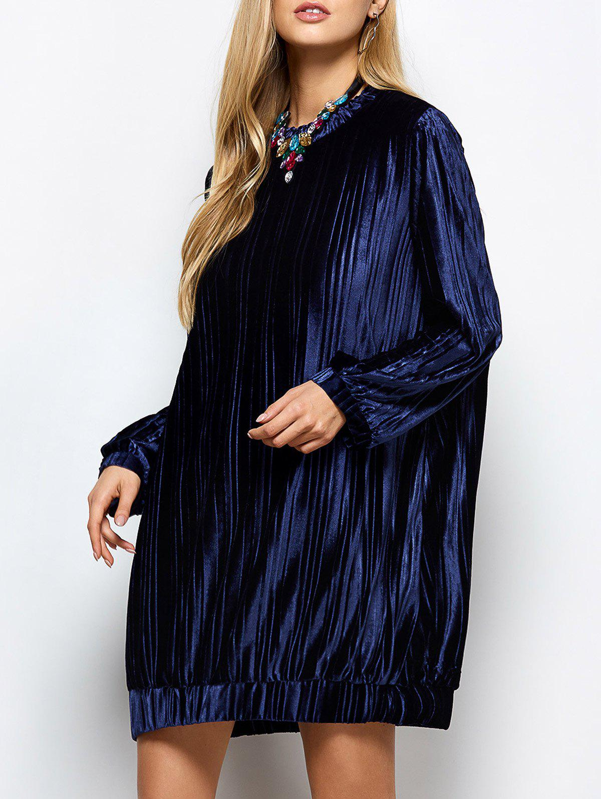 Oversized Velvet Tee Dress - PURPLISH BLUE M