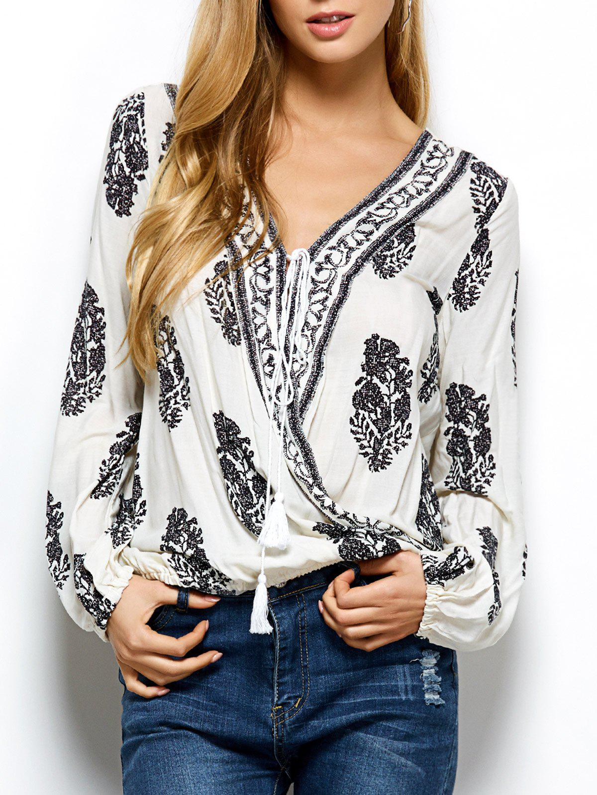 Retro Print Wrap V Neck Blouse - WHITE M