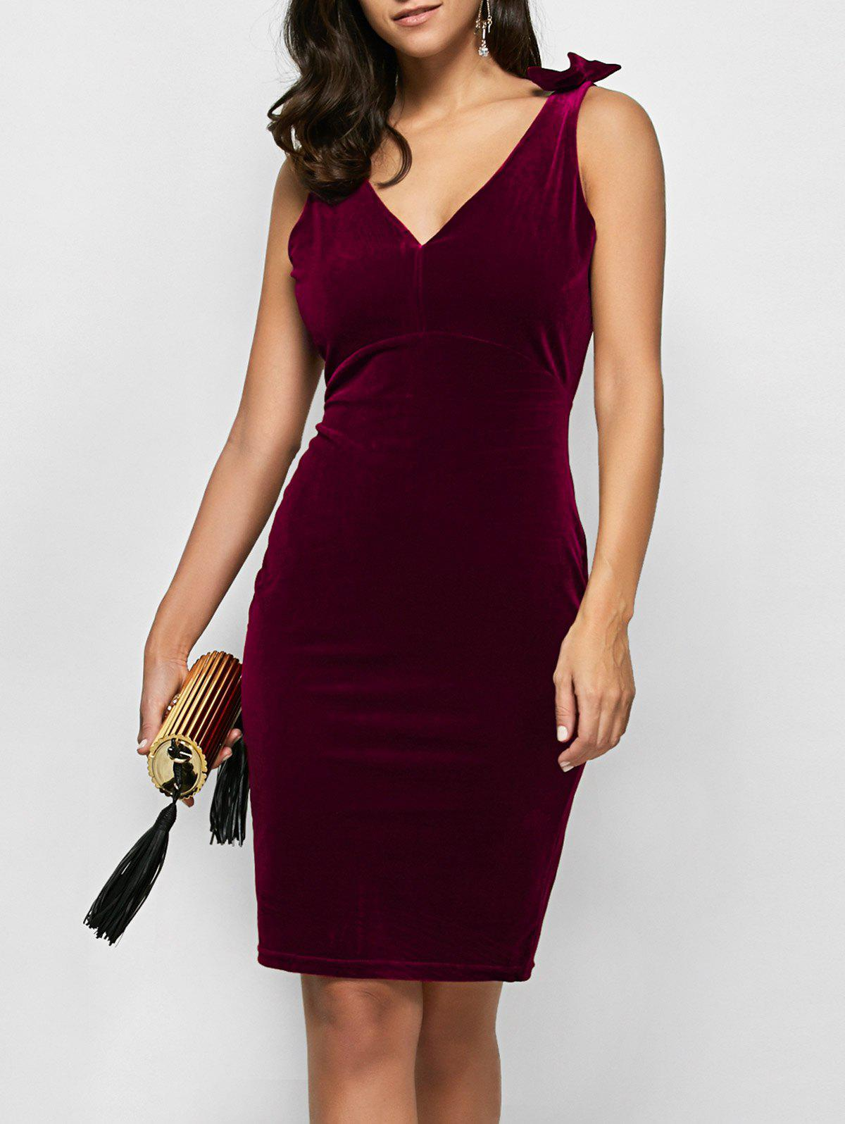 Velvet V Neck Sheath Cocktail Dress - WINE RED M