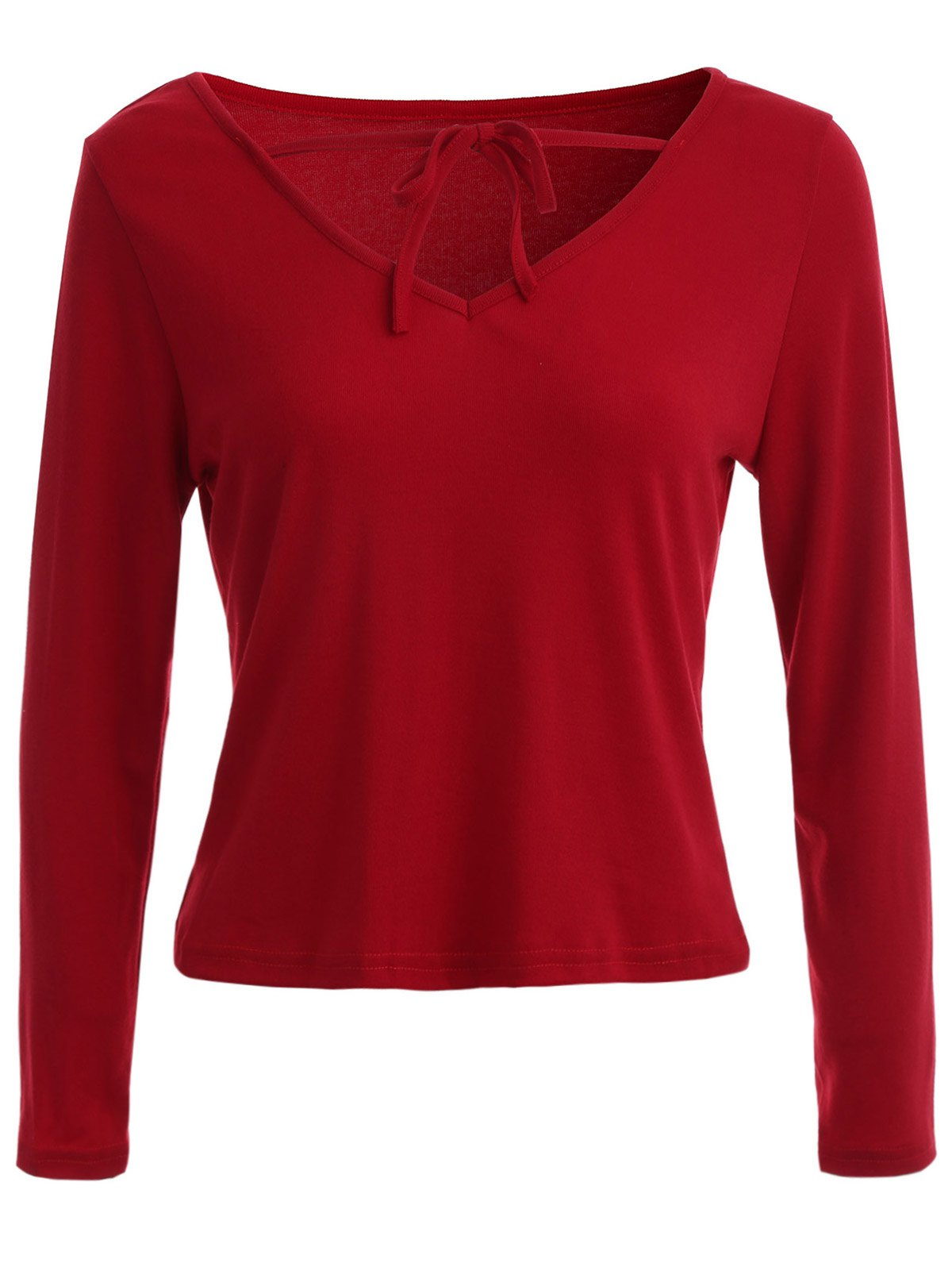 Lace Up V Neck Plain T-ShirtWomen<br><br><br>Size: S<br>Color: RED