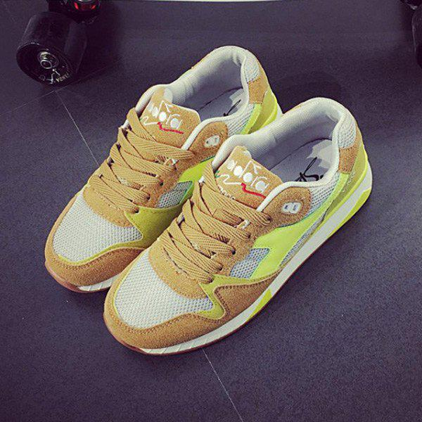 Tie Up Color Block Mesh Athletic Shoes - EARTHY 39
