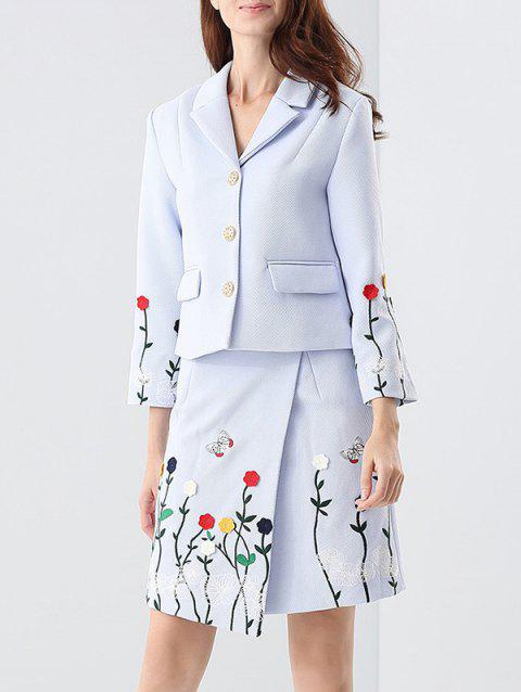 Embroidered Button Up Jacket and Asymmetric Wrap Skirt - BLUE S