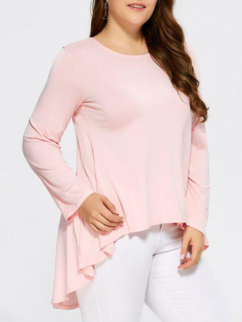High Low Ruffled Plus Size T-Shirt - SHALLOW PINK XL