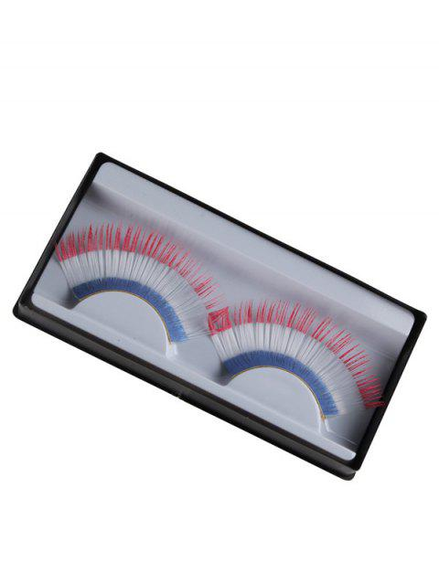 Pair of France Flag False Eyelashes - WHITE