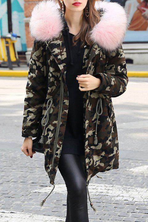 bd31fad66e781 17% OFF] 2019 Fur Hooded Drawstring Camouflage Parka Coat In PINK ...