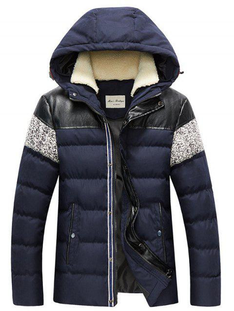 Zip Up Faux Leather Panel Hooded Padded Jacket - CADETBLUE 4XL