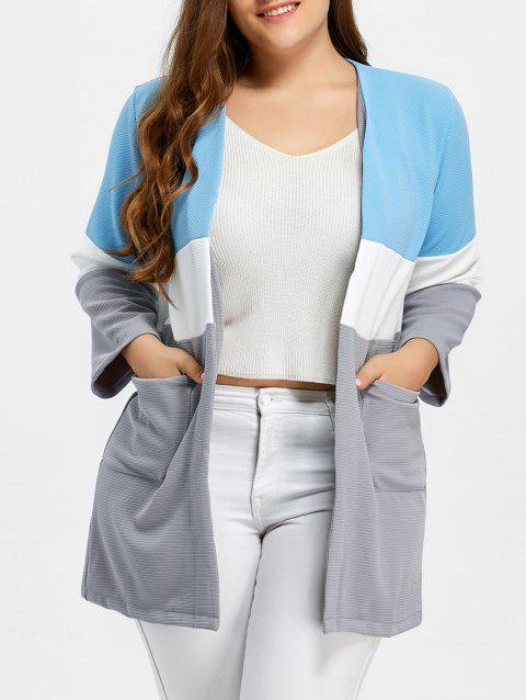 798f605df9c 41% OFF  2019 Plus Size Color Block Open Front Knit Cardigan In BLUE ...