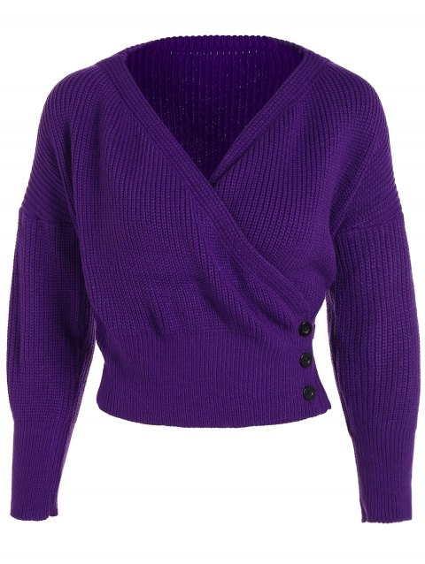 V Neck Knit Buttons Embellished Sweater - DEEP PURPLE ONE SIZE