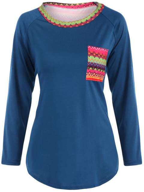 Round Neck Printed Pocket Tunic T-Shirt - LAKE BLUE M
