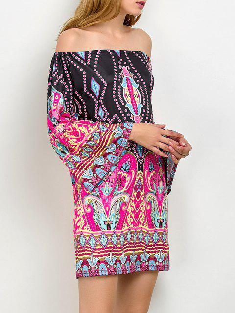 31a68cccf3c9 41% OFF  2019 Off The Shoulder Bohemian Print Tunic Dress In PINK M ...