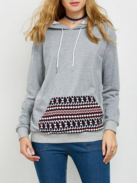 Tribal Trim Drawstring Hoodie - GRAY XL