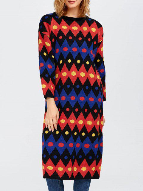 Color Block Midi Shift Sweater Dress - RED ONE SIZE