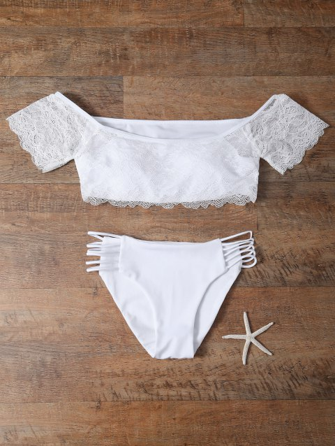 Off-The-Shoulder Padded Lace Bikini - WHITE M
