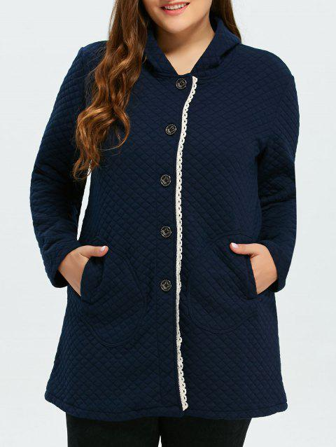 Button Up Lacework Hooded Coat - PURPLISH BLUE M