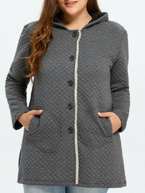 Button Up Lacework Hooded Coat - GRAY XL