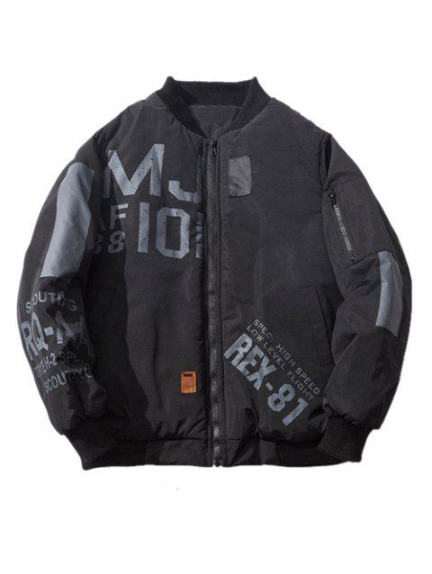 7950f4118 Stand Collar Pocket Zip Up Graphic Bomber Jacket
