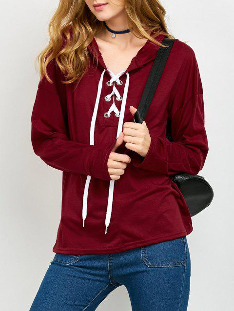 Lace Up Long Sleeve Hooded T Shirt - RED L