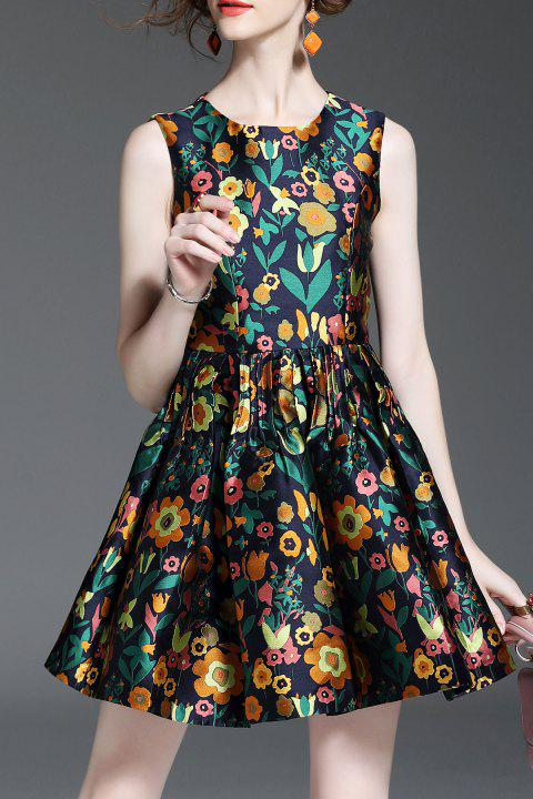 Floral Jacquard Sleeveless Pleated Dress - FLORAL L