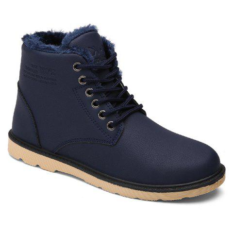 Lace Up Cotton Liner Faux Leather Ankle Boots - BLUE 42