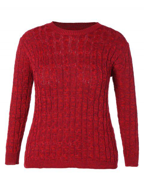 ebdf136493 2019 Plus Size Long Sleeve Cable Knit Sweater In BURGUNDY 2XL ...