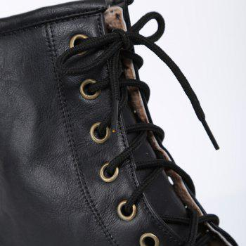 Chunky Heel Lace Up Flat Ankle Boots - BLACK 39
