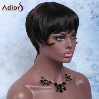 Short Capless Straight Full Bang Heat Resistant Synthetic Wig - BLACK/BROWN